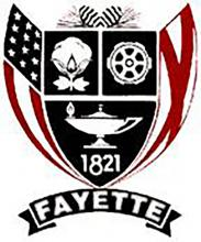 Shown is the Fayette crest/flag that was designed by Shirley Garrison during Fayette's Sesquicentennial Celebration in 1971.